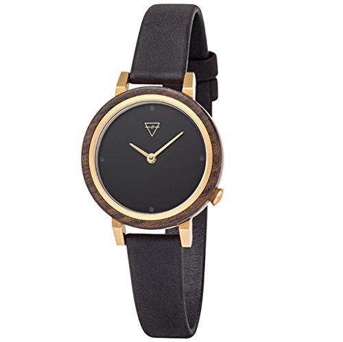 Kerbholz Damen Analog Quarz Luise Sandalwood Midnight Armbanduhr mit Leder Armband 4251240403953