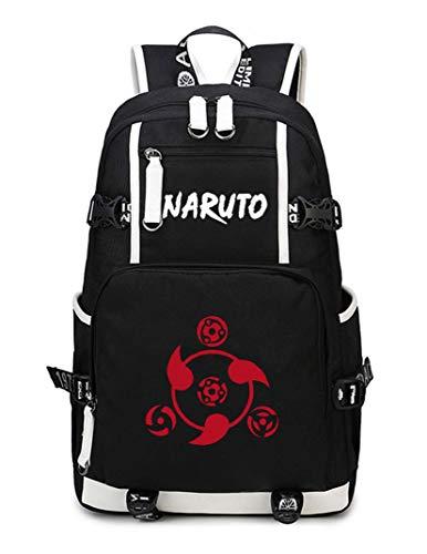 Cosstars Naruto Anime Mochila Escolar Estudiante Bolso de Escuela Backpack Mochila para Portátil Negro-7