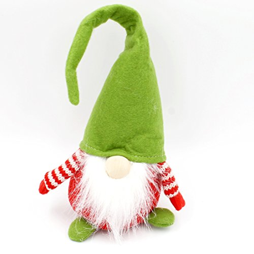 Süßer Wichtel mit Hut, Nase und Bart ~ grün, rot, weiß, gehäkelte Arme ~ S 33cm