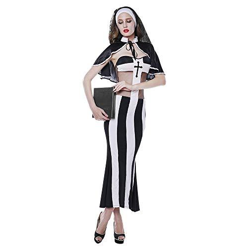 Heiße Kostüm Nonne - HJG Sündhaft heißes Nonnenkostüm für Damen, Halloween-Rollenspiel- und Cosplay-Priesterkostüm, nuttiges Kleid