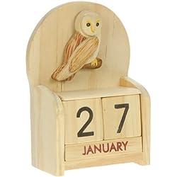 Lechuza : Hechos a mano calendario perpetuo de madera. Diversión peculiar de Navidad o idea del regalo de cumpleaños. Presente Comercio Justo (tamaño 10,5 x 7 x 3,5 cm)