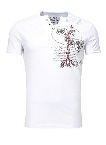Key Largo Herren Sommer T-Shirt T WEAPON button Printshirt Slim Fit Schnitt V-Ausschnitt mit Knöpfen weiß L