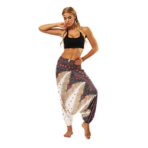 HCFKJ Shorts Damen, Lässige Sommer Lose Yoga Hosen Baggy Boho Aladdin Overall Pluderhosen (Free, White)