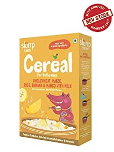 Slurrp Farm Cereal, Wholewheat, Maize, Rice, Banana and Mango with Milk, 200g