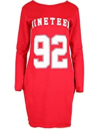 Ladies Los Angeles 86 Nineteen 92 Print LA USA Scoop Neck Full Sleeves Knitted Tunic Womens Long Oversized Sweatshirt Warm Fleece Jumper Top
