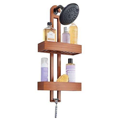 mDesign Duschablage mit Körben und Haken aus Bambus – edles Duschregal ohne Bohren mit 2 Fächern für Shampoo, Duschgel und 1 Haken für Rasierer etc. – Duschkorb zum Hängen fürs Badezimmer – braun