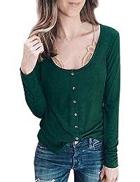 6cb1a66eaaa6 OSYARD Damen Strickmantel Oberteile Sweatshirt Pullover, Frauen Solide  Rundhalsausschnitt Strickpullover mit Knopf Lange Ärmel Freizeit