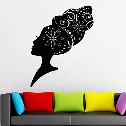 Afrikanische Folk Frisur Wandtattoo Muster Mädchen Frau Vinyl Aufkleber Wohnkultur Ideen Raum Innen Wandkunst Friseursalon 57X73CM