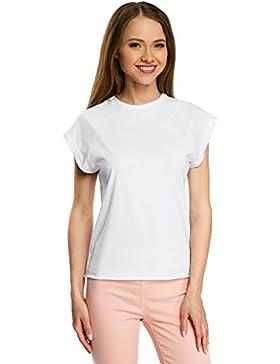 oodji Ultra Donna T-Shirt in Cotone con Orlo Grezzo (Pacco di 2)