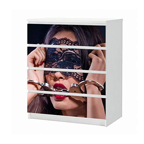 Set Möbelaufkleber für Ikea Kommode MALM 4 Fächer/Schubladen Erotik Sexy Frau Handschälen Bett Hand Schlafzimmer Aufkleber Möbelfolie sticker (Ohne Möbel) Folie 25B1208