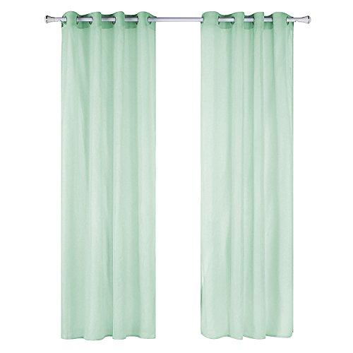 Liveinu 2 pannello tenda con occhielli in voile decorativa trasparenti tende tinta unita drappeggiato per case cameretta 140 x 260 cm verde