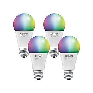 OSRAM Smart+ LED, ZigBee Lampe mit E27 Sockel, warmweiß bis tageslicht, Farbwechsel RGB, dimmbar, Direkt kompatibel mit Echo Plus und Echo Show (2. Gen.), Kompatibel mit Philips Hue Bridge, 4er Pack