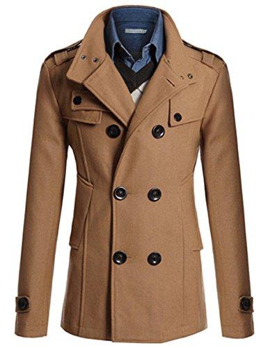 Paul Jones® Manteau Homme Slim Fit Hiver Printemps Coupe-vent Double Rangée Boutons Marron