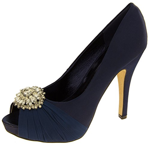 Donna Sabatine scarpe da sposa a grappolo diamante raso Blu marino