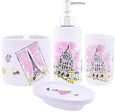 Archies Bathroom Accessories Essential Kit Multicolored Ceramic Set of 4.
