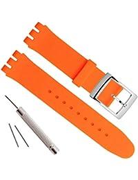 Cinturino in gomma siliconica impermeabile e fibbia in acciaio inox placcata argento (17mm, Orange)
