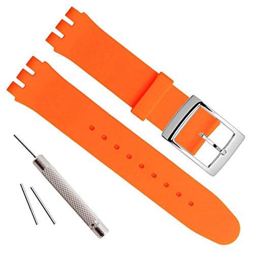 Hebilla de acero inoxidable bañada en plata, resistente al agua, correa de reloj de goma de silicona (19mm, Orange)