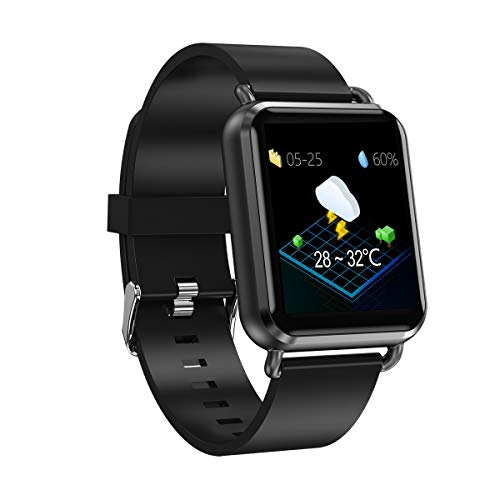 GYFKK Intelligente Uhr Smart Armband 3D Dynamische Herzfrequenz Blutdruck Multifunktionale wasserdichte Bewegung Handring Schwarzes Leder - Leder-counter