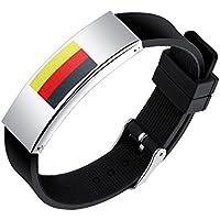SHEDEU drapeaux Coupe du monde de football ventilateurs mains Bracelets Coupe du monde de football Drapeau national Bracelet en silicone pour homme en alliage Bracelet Allemagne