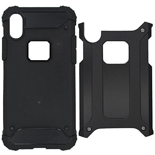 Hcheg 3in1 set di accessori: Apple iPhone X a doppio strato ibrido Cell Phone Case(#2) Custodia protettiva Resistenza goccia telefono mobile con il basamento (nero) + 1 x Protezione dello schermo di v hybrid-black