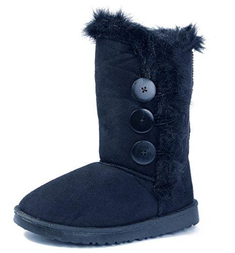AgeeMi Shoes Femmes Neige Bottes Trois Bouton Doublure en Fourrure Étanche Medium Chaleureux Hiver Noir