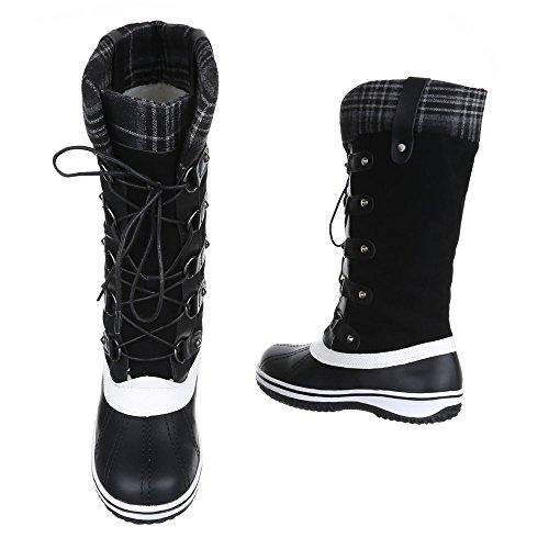 Komfortstiefel Damen Schuhe Klassischer Stiefel Warm Gefütterte Schnürsenkel Ital-Design Stiefel Schwarz