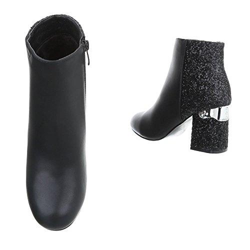 Ital-Design High Heel Stiefeletten Damenschuhe High Heel Stiefeletten Pump High Heels Reißverschluss Stiefeletten Schwarz T157