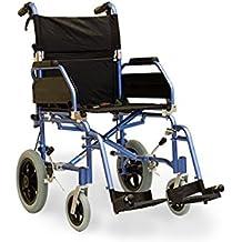 Comodidad ligera de transporte de tránsito plegable aluminio silla azul con frenos de cable 3tamaños, color plateado