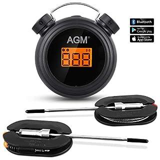 AGM Grillthermometer Fleischthermometer 2 Sonden,Fleischthermometer Digitales Wireless Bratenthermometer,Bluetooth BBQ Grillen Kochen Essen Thermometer mit APP, für Küche, Grill, Backen,Rachuer Ofen