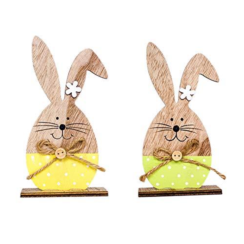 n Osterdeko Süß und Schön WQIANGHZI Dekorieren Niedlicher Süße Holzhasen für zu Hause Dekoration 2 Stück Verschiedene Modelle (A) ()