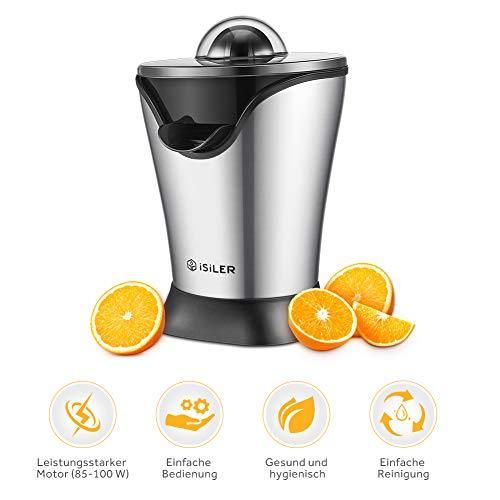 Zitruspresse, iSiLER Saftpresse mit leisem und leistungsstarkem 100 W Motor, 5 Minuten für ein 350 ml Glas Saft, Zitruspresse Elektrisch mit Staubschutzhaube und Stahlgehäuse, Fruchtpresse für Zitrusfrüchte wie Orangen, Grapefruits und Zitronen