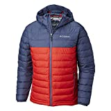 Columbia Herren Powder Lite Hooded Jacket+1693931 Insulated, Rot, Blau (Red Spark, Dark Mountain), L
