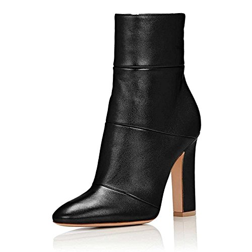 Jushee Booties Stiefeletten für Frauen Kleid High Block Chunky Heels Schuhe Pumps Schwarz 43 EU (Leder-booties Patent)
