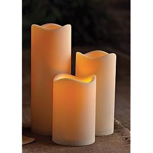 3er Set Romantische LED Kerzen - Größe 10 cm / 15 cm / 20 cm hoch - dekorative und stromsparende LED Technik inkl. Timer - Kerze flackernd - für Innen und Außen - OUTDOOR