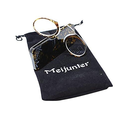 Meijunter Pince Nez Style Mini Nase Lesebrille Tragbare Geldbörse Lesebrille mit Etui (Schildpatt/Stärke:+2.0)