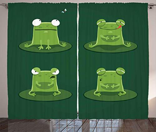 ABAKUHAUS Lustig Rustikaler Gardine, Frösche im Teich Lily Pad, Schlafzimmer Kräuselband Vorhang mit Schlaufen und Haken, 280 x 225 cm, Jägergrün -