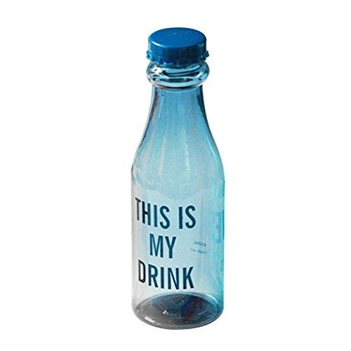 650ml Fashion tragbar Buchstaben Sports Travel Saft-Flasche Cup mit Stroh, blau, Einheitsgröße (Sport Stroh Flasche)