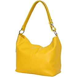 AMBRA Moda - GL005 - Bolso de hombre de cuero para mujer - Estilo hobo, color Amarillo, talla M