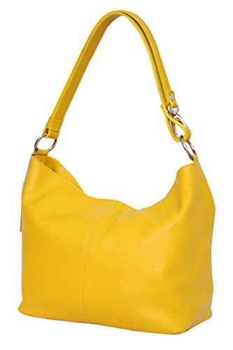 Bolso amarillo de hombro de cuero para mujer