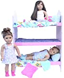 "Doll Triple Bunk Bed Set For American Girl Doll or 18"" Doll. Complete"
