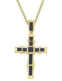 Silvernshine His Her 9K Yellow Gold FN Blue Sapphire Sim Diamond Micro Pave Cross Pendant Necklace