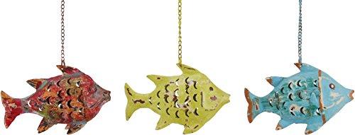Fisch Windlicht Laterne Gartendeko Figur Dekofigur Metall 224029 (Gelb) - Fisch-laterne