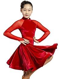SCGGINTTANZ GD3102 Niña Profesional el Vestido de Hilo de Red y el diseño de  Empalme de Terciopelo Latino Latin… edfa320e01837