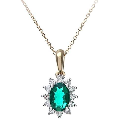 Revoni - Ciondolo Cluster in oro giallo 9 kt, smeraldi e diamanti incastonati a pietra, 46 cm di lunghezza