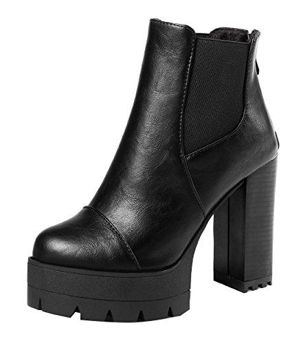 VogueZone009 Damen Niedrig-Spitze Reißverschluss Mittler Absatz Quadratisch Zehe Stiefel, Schwarz, 39