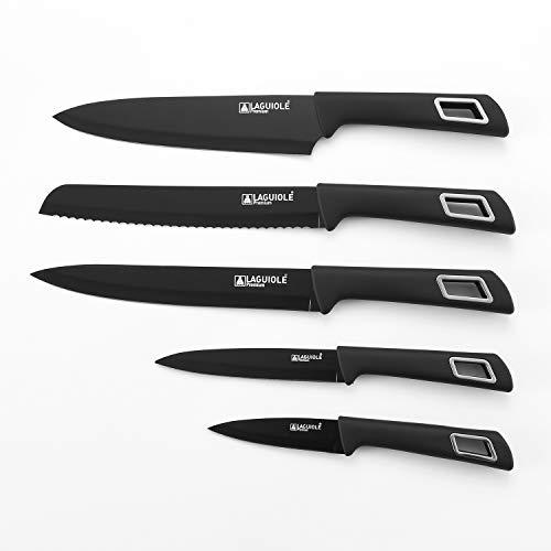 Coffret 5 couteaux en acier anti-adhésif noir CAVAR - Laguiole Qualité Pro