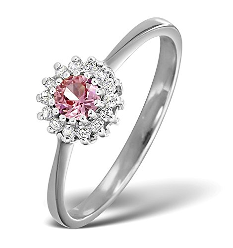 Rosa Zafiro y diamantes 0.07ct anillo de oro blanco de 9K