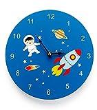Mousehouse Gifts - Reloj de pared infantil - Madera - Temática espacial
