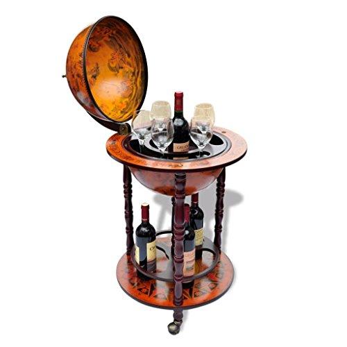 Tidyard Mueble Bar con Ruedas en Forma de Globo Terráqueo Estante de Botellas Botellero de Madera para Botellas y Vasos Múltiples Decoración para Hogar Oficina 47x47x102cm