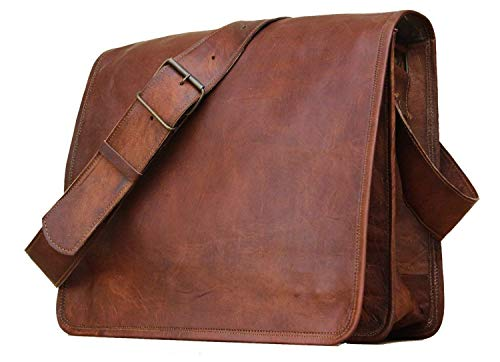 Krish, borsa messenger in pelle, a patta intera, per portatile da 15', realizzata in pelle ecologica
